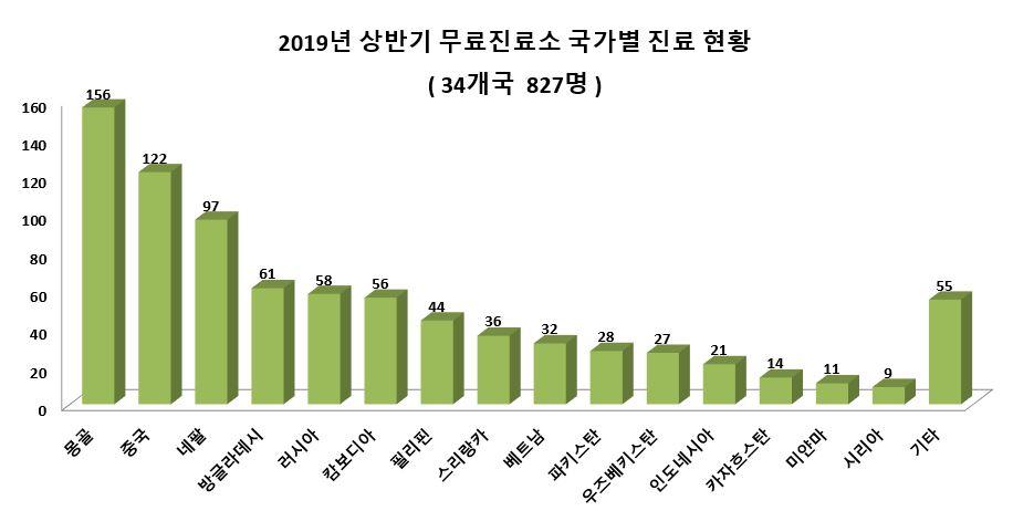 6. 2019년 상반기 무료진료소 국가별 진료 현황.JPG